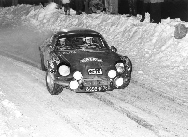 1973 World Rally ChampionshipMonaco Rally, Monte Carlo, 19th - 26th JanuaryJean-Claude Andruet (Alpine-Renault A110). First place. Action.World Copyright: LAT Photographic.ref: 5003/22 (60mb Scan)