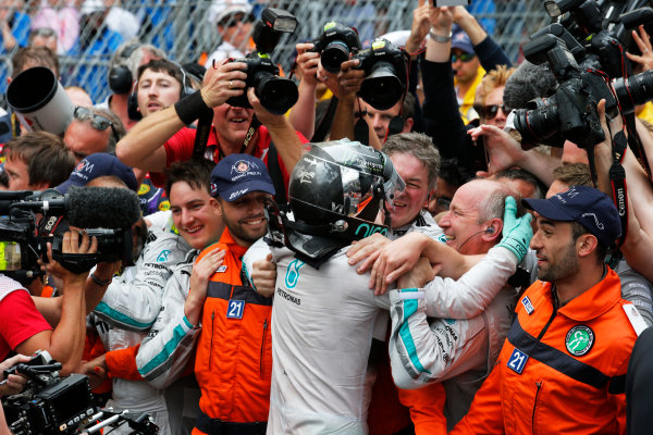 Monte Carlo, Monaco. Sunday 25 May 2014. Nico Rosberg, Mercedes AMG, 1st Position, celebrates in Parc Ferme, with his team. World Copyright: Steven Tee/LAT Photographic. ref: Digital Image _L4R7548