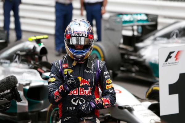 Monte Carlo, Monaco. Sunday 25 May 2014. Daniel Ricciardo, Red Bull Racing, 3rd Position, celebrates in Parc Ferme. World Copyright: Andrew Ferraro/LAT Photographic. ref: Digital Image _FER7046