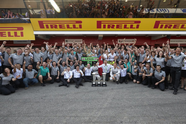 Circuit de Catalunya, Barcelona, Spain. Sunday 11 May 2014. Toto Wolff, Executive Director (Business), Mercedes AMG, Dr Dieter Zetsche, CEO, Mercedes Benz, Lewis Hamilton, Mercedes AMG, 1st Position, Nico Rosberg, Mercedes AMG, 2nd Position, and the Mercedes AMG team celebrate a perfect weekend. World Copyright: Steve EtheringtonLAT Photographic. ref: Digital Image SNE25427 copy
