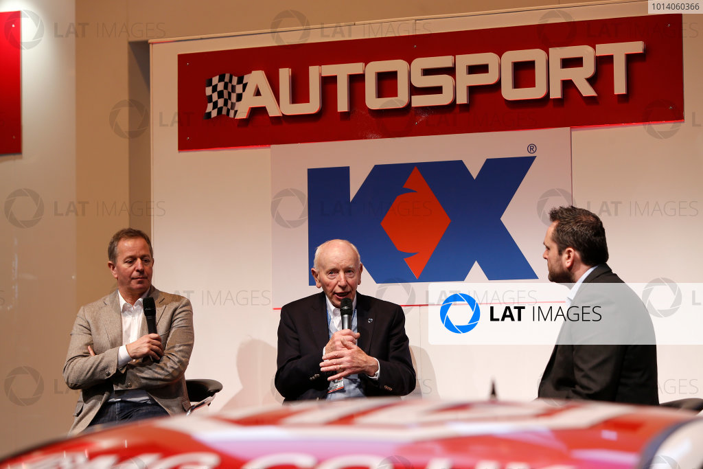 Autosport International Show NEC, Birmingham.  Sunday 12 January 2014. John Surtees and Martin Brundle on the stage. World Copyright:Sam Bloxham/LAT Photographic ref: Digital Image _SBL2711