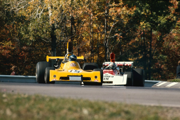 1973 United States Grand Prix.  Watkins Glen, New York, USA. 5-7th October 1973.  Mike Beuttler, March 731 Ford, leads Jean-Pierre Beltoise, BRM P160E.  Ref: 73USA14. World copyright: LAT Photographic