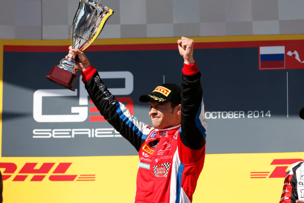 2014 GP3 Series. Round 8.   Sochi Autodrom, Sochi, Russia. Sunday Race 2 Sunday 12 October 2014. Patric Niederhauser (SUI, Arden International) on the podium. Photo: Alastair Staley/GP3 Series Media Service. ref: Digital Image _79P5782