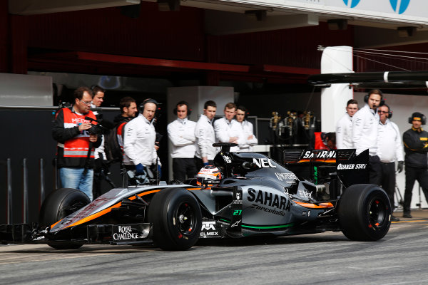 2015 F1 Pre Season Test 3 - Day 2 Circuit de Catalunya, Barcelona, Spain. Friday 27 February 2015. Nico Hulkenberg, Force India VJM08 Mercedes, comes into the pits. World Copyright: Sam Bloxham/LAT Photographic. ref: Digital Image _14P2820