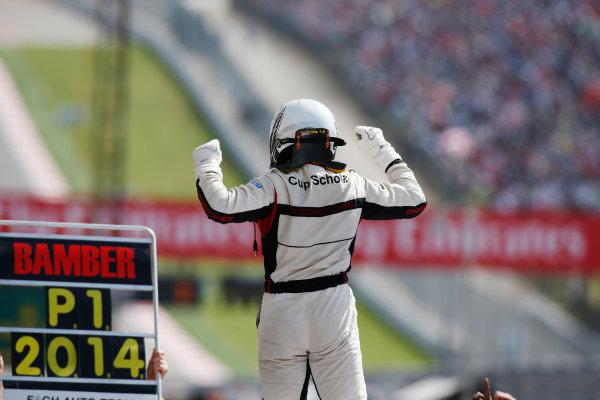 2014 Porsche Supercup. Sunday 2 November 2014. Earl Bamber, No.19 Fach Auto Tech, celebrates championship victory. World Copyright: /LAT Photographic. ref: Digital Image _W2Q7099