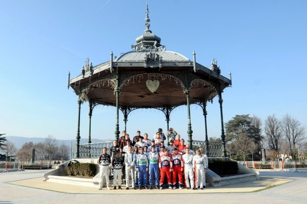 Drivers group photo in Valence. FIA World Rally Championship, Rd1, Rallye Monte-Carlo, Monaco, Shakedown, Tuesday 17 January 2012.