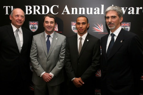 L-R: Ron Dennis (GBR) CEO McLaren, Nigel Mansell (GBR), Lewis Hamilton (GBR) and Damon Hill (GBR) BRDC President.