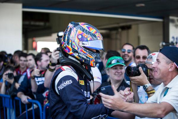 2017 FIA Formula 2 Round 10. Circuito de Jerez, Jerez, Spain. Sunday 8 October 2017. Artem Markelov (RUS, RUSSIAN TIME) in parc ferme. Photo: Andrew Ferraro/FIA Formula 2. ref: Digital Image _FER3659