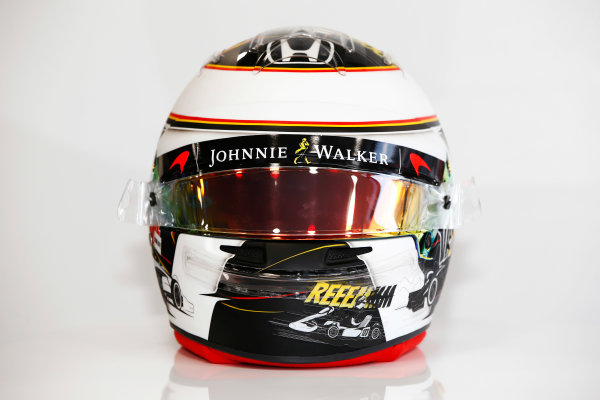 Spa Francorchamps, Belgium.  Thursday 24 August 2017. Stoffel Vandoorne, McLaren, crash helmet detail, showing a new design for his home grand prix. World Copyright: Andy Hone/LAT Images  ref: Digital Image _ONY3053