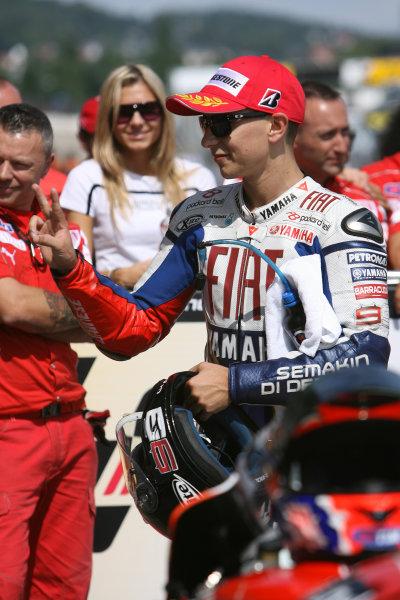 Germany Sachsenring 16-18 July 2010Jorge Lorenzo Fiat Yamaha Team celebrates in parc ferme