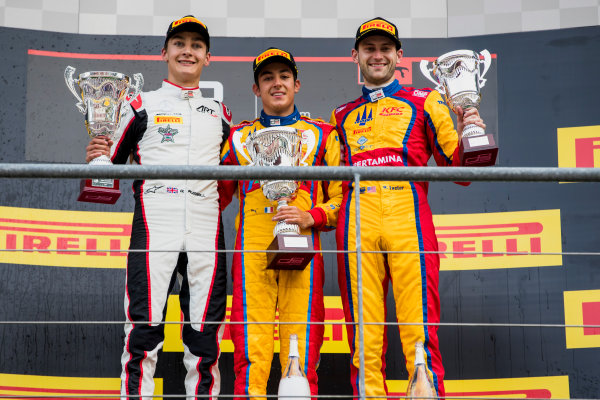 2017 GP3 Series Round 5.  Spa-Francorchamps, Spa, Belgium. Sunday 27 August 2017. George Russell (GBR, ART Grand Prix), Giuliano Alesi (FRA, Trident), Ryan Tveter (USA, Trident).  Photo: Zak Mauger/GP3 Series Media Service. ref: Digital Image _56I3162