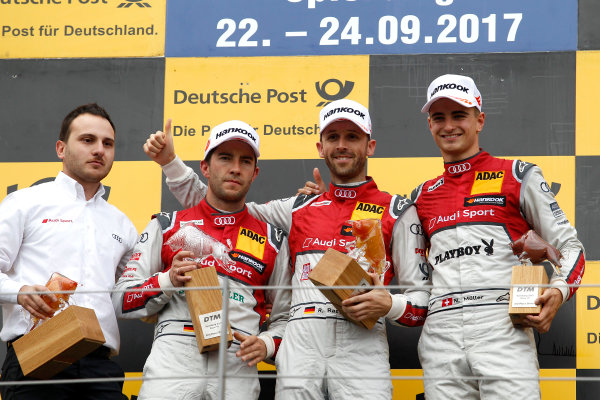 2017 DTM Round 8  Red Bull Ring, Spielberg, Austria  Sunday 24 September 2017. Podium: Race winner René Rast, Audi Sport Team Rosberg, Audi RS 5 DTM, second place Mike Rockenfeller, Audi Sport Team Phoenix, Audi RS 5 DTM, third place Nico Müller, Audi Sport Team Abt Sportsline, Audi RS 5 DTM  World Copyright: Alexander Trienitz/LAT Images ref: Digital Image 2017-DTM-RBR-AT3-2767