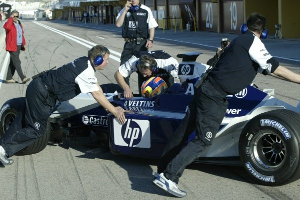 Vitantonio Liuzzi (ITA) Williams Formula One Testing, Valencia, Spain 27 November 2002 DIGITAL IMAGE