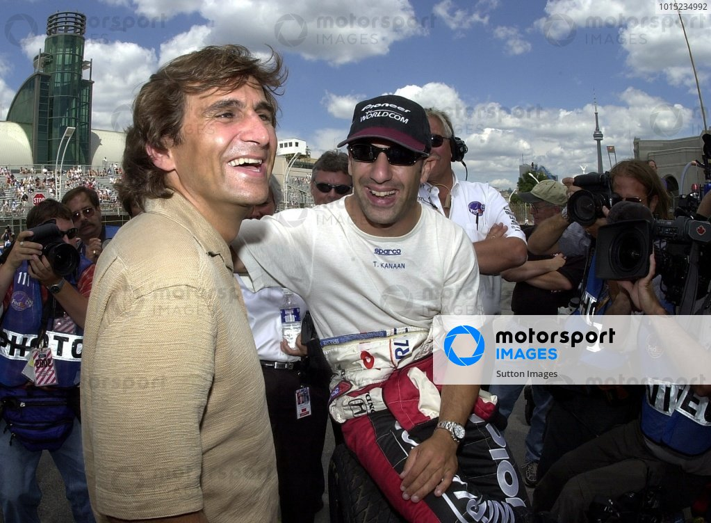 Alex Zanardi was his usual smiling self prior to qualifying for the Molson Indy Toronto. Exhibition Place,  Toronto, Ont., Ca.  07 July, 2002.