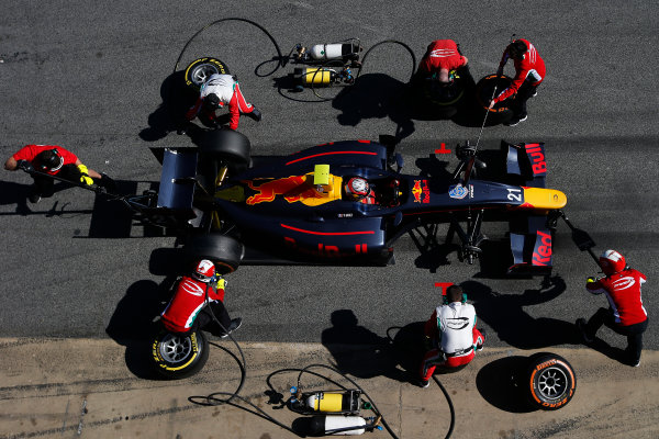 2016 GP2 Series Test 1. Circuit de Catalunya, Barcelona, Spain. Friday 11 March 2016. Pierre Gasly (FRA, PREMA, Racing), makes a pit stop World Copyright: Sam Bloxham/LAT Photographic. ref: Digital Image _L4R9575