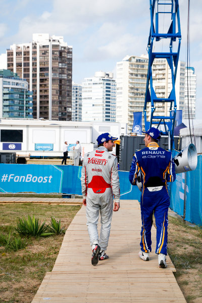 FIA Formula E Championship 2015/16. Julius Baer Punta Del Este ePrix, Punta Del Este, Uruguay. Race. Jerome D'Ambrosio (FRA) Dragon Racing - Venturi VM200-FE-01, Sebastien Buemi (SUI), Renault e.Dams Z.E.15. Punta Del Este, Uruguay, South America. Saturday 19 December 2015 Photo: Adam Warner / LAT/FE ref: Digital Image _L5R2666
