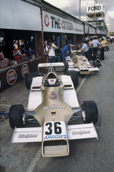 Kyalami, South Africa. 2nd - 4th March 1978.  Arrows FA1 Fords of Rolf Stommelen and Riccardo Patrese in the pits.  Ref: 78SA22. World Copyright: LAT Photographic