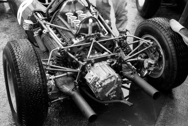 The V8 BRM engine powering the BRM P48/57 of Richie Ginther (USA).