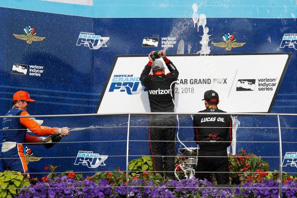 Scott Dixon, Chip Ganassi Racing Honda, Will Power, Team Penske Chevrolet, Robert Wickens, Schmidt Peterson Motorsports Honda, podium, champagne.