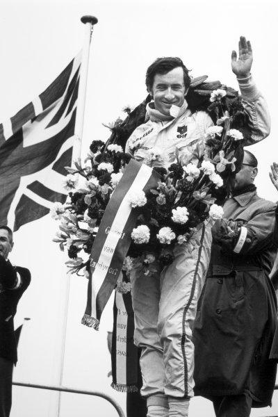 1968 Dutch Grand Prix.Zandvoort, Holland. 23 June 1968.Jackie Stewart, Matra MS10-Ford, 1st position, portrait, podium.World Copyright: LAT PhotographicRef: 2033 #8A