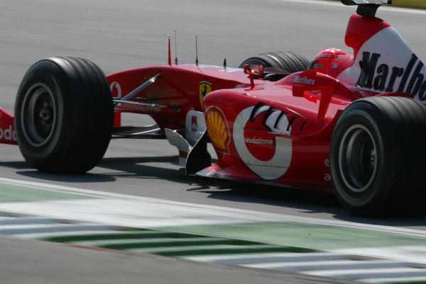 2003 Austrian Grand Prix, Saturday Qualifying,A1 Ring, Austria.17th May 2003.Michael Schumacher, Ferrari F2003 GA, action.World Copyright LAt Photographic.Digital Image Only.