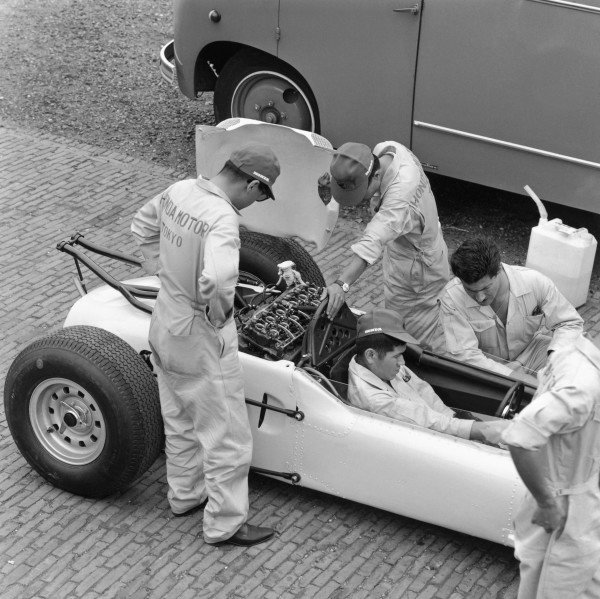 1964 German Grand PrixNurburgring, Germany. 31st July - 02nd AugustHonda take part in their first Grand Prix.World Copyright - LAT Photographic ref: B&W Negative Image no. 25927