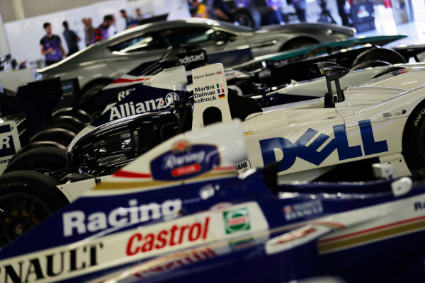 Williams 40 Event Silverstone, Northants, UK Friday 2 June 2017. A line-up of Williams cars, including the 1999 BMW Le Mans winner.  World Copyright: Zak Mauger/LAT Images ref: Digital Image _54I9953