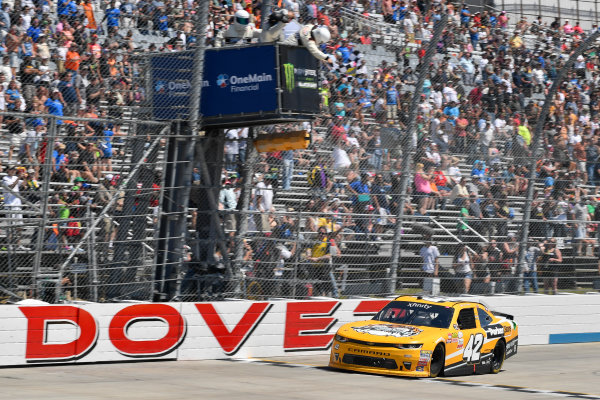 NASCAR XFINITY Series One Main Financial 200 Dover International Speedway, Dover, DE USA Saturday 3 June 2017 Kyle Larson, ParkerStore Chevrolet Camaro takes the checkered flag World Copyright: Logan Whitton LAT Images ref: Digital Image 17DOV1LW3085