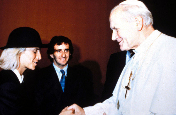 Alain Prost and wife Anne-Marie meet Pope John Paul II, circa October 1985, on a detour prior to the 1985 Australian Grand Prix