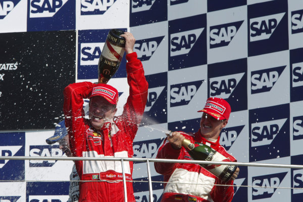 2002 USA Grand Prix - RaceIndianapolis, USA, 29th September 2002.Michael Schumacher and Rubens Barrichello.World Copyright: Steve Etherington/LATref: Digital Image Only