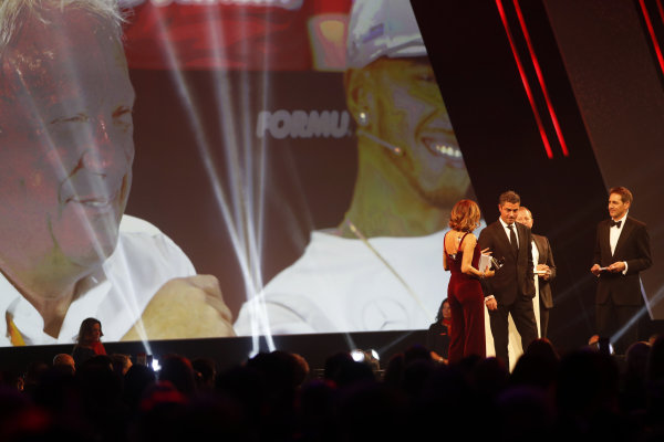 Martin Brundle presents the John Bolster award to Michael Masi, Race Director, FIA, on behalf of the late Charlie Whiting