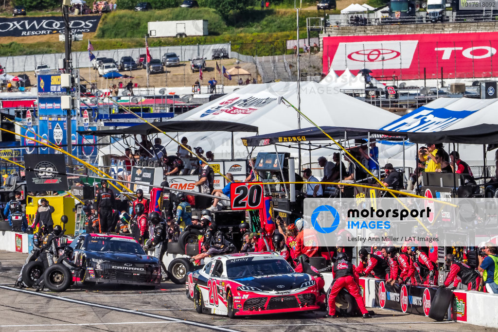 #20: Christopher Bell, Joe Gibbs Racing, Toyota Supra Rheem-Watts pit stop