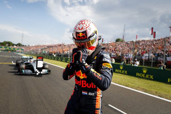 Max Verstappen, Red Bull Racing, celebrates after securing his first pole position