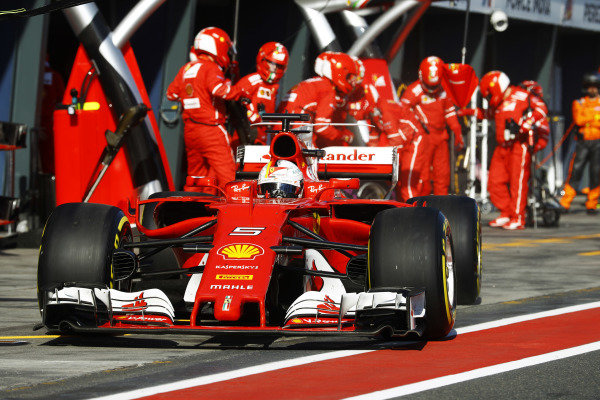 Sebastian Vettel (GER) Ferrari SF70-H pit stop at Formula One World Championship, Rd1, Australian Grand Prix, Race, Albert Park, Melbourne, Australia, Sunday 26 March 2017.