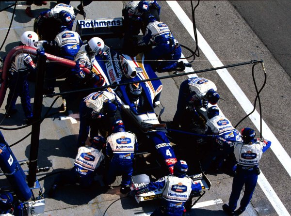 1997 Hungarian Grand Prix.Hungaroring, Budapest, Hungary.8-10 August 1997.Heinz-Harald Frentzen (Williams FW19 Renault) retires.World Copyright - Elford/LAT Photographic