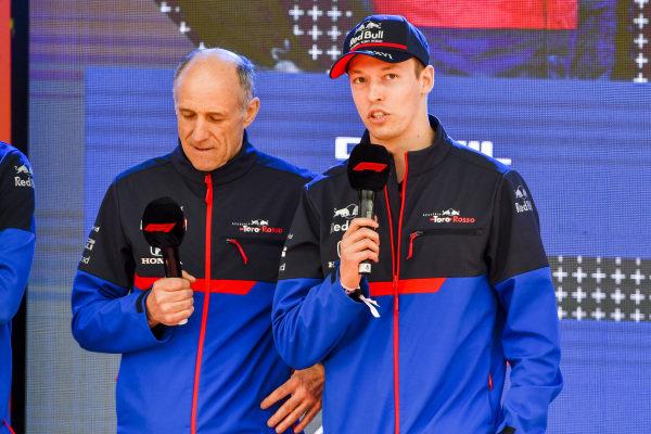 Franz Tost, Team Principal, Toro Rosso and Daniil Kvyat, Toro Rosso at the Federation Square event.