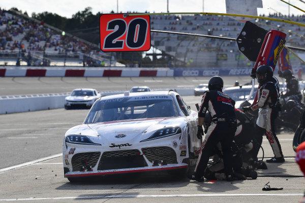 #20: Harrison Burton, Joe Gibbs Racing, Toyota Supra DEX Imaging makes a pit stop