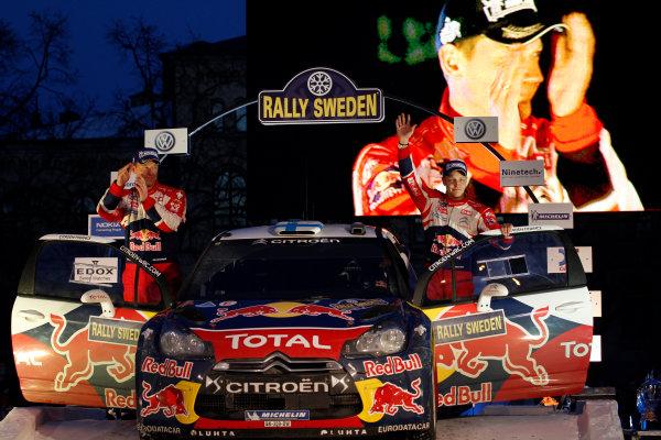 Round 02 - Rally Sweden 09-12 February 2012. Mikko Hirvonen, Jarmo Lehtinen, Citroen WRC, Podium.  Worldwide Copyright: McKlein/LAT
