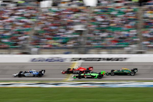 30 April - 1 May, 2010, Kansas City, Kansas, USARaphael Matos leads Marco Andretti, Danica Patrick and Takuma Sato.©2010 Phillip Abbott, USALAT Photographic