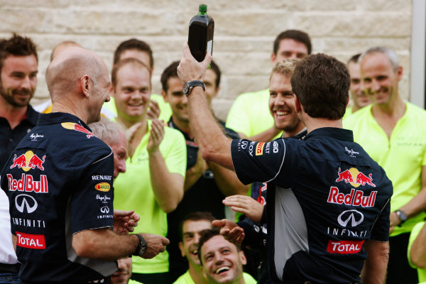 Circuit of the Americas, Austin, Texas, United States of America. Sunday 17th November 2013.  Christian Horner, Team Principal, Red Bull Racing, brings out some Jagermeister for the post race Red Bull celebrations. World Copyright: Alastair Staley/LAT Photographic. ref: Digital Image _R6T1140