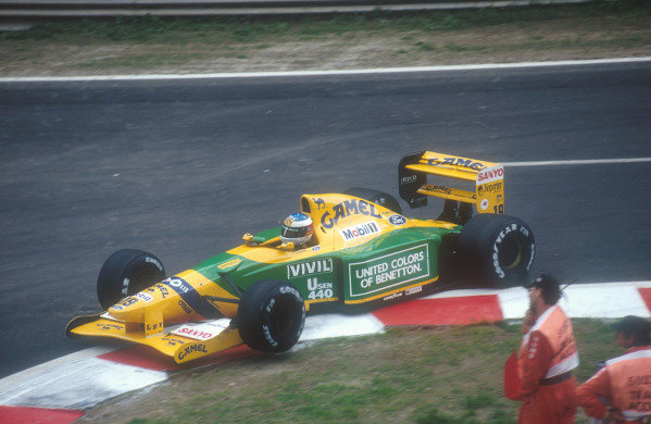 Spa-Francochamps, Belgium.28-30 August 1992.Michael Schumacher (Benetton B192 Ford) 1st position for his maiden Grand Prix win. Here he is going over the kerbs on the entry to the Bus Stop Chicane.  World Copyright - LAT Photographic