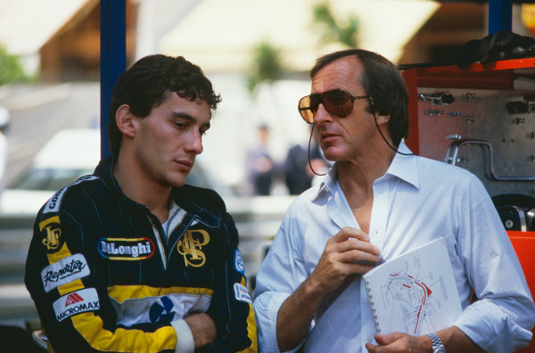 1986 Monaco Grand Prix. Monte Carlo, Monaco. 8th - 11th May 1986. Ayrton Senna (Lotus 98T-Renault), 3rd position, in converstaion with 3 times World Champion, Jackie Stewart, portrait.  World Copyright: LAT Photographic. Ref:  86MON73.