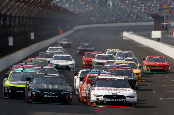 24-25 July, 2015, Indianapolis, Indiana USA Kyle Busch, Monster Energy Toyota Camry, Ryan Blaney leads the field on a restart ?2015, Brett Moist LAT Photo USA