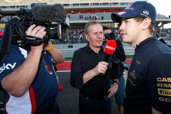 Circuit of the Americas, Austin, Texas, United States of America. Sunday 18th November 2012. Sebastian Vettel, Red Bull Racing, is interviewed by Martin Brundle, Commentator, Sky Sports F1, after the race. World Copyright:Alastair Staley/  ref: Digital Image _MG_7936