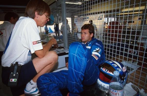 Nicola Larini(I), Ligier JS33B, 10th place German GP, Hockenheim, Germany, 29 July 1990