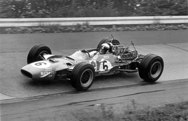 1968 German Grand Prix.Nurburgring, Germany. 4 August 1968.Jackie Stewart, Matra MS10-Ford, 1st position, without rear wing, action.World Copyright: LAT PhotographicRef: 2094 #40A