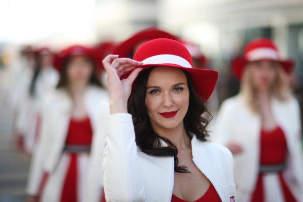 Sochi Autodrom, Sochi, Russia. Saturday 29 April 2017. Russian Grand Prix promotional girls. World Copyright: Charles Coates/LAT Images ref: Digital Image AN7T3807