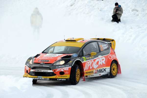 Martin Prokop (CZE) and Michal Ernst (CZE), Ford Fiesta RS WRC on stage 12. FIA World Rally Championship, Rd2, Rally Sweden, Karlstad, Sweden, Day Two, Saturday 9 February 2013.