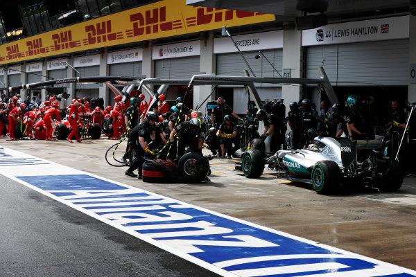 Red Bull Ring, Spielberg, Austria. Saturday 02 July 2016. Lewis Hamilton, Mercedes F1 W07 Hybrid switches to slicks in the pits. World Copyright: Glenn Dunbar/LAT Photographic ref: Digital Image _V2I2868
