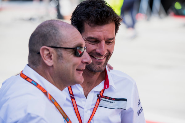 2017 FIA Formula 2 Round 5. Red Bull Ring, Spielberg, Austria. Sunday 9 July 2017. Mark Webber with Bruno Michel. Photo: Zak Mauger/FIA Formula 2. ref: Digital Image _54I0270